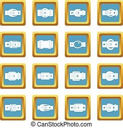 Belt buckles icons azure