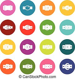 Belt buckles icons many colors set