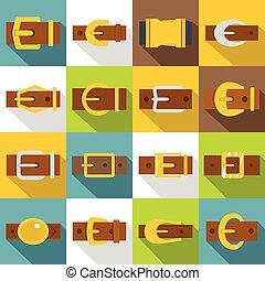 Belt buckles icons set, flat style