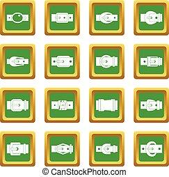 Belt buckles icons set green