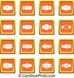 Belt buckles icons set orange
