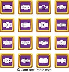 Belt buckles icons set purple