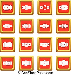 Belt buckles icons set red