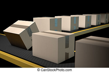 Belt Conveyor With Boxes