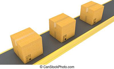 Belt conveyor with carton boxes