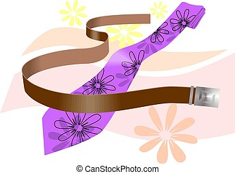 Belt - Illustration of a leather belt with metallic buckle...