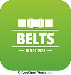 Belt icon green vector