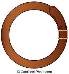 Belt for trousers made in the form of a ring on a pure background