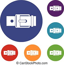 Belt with square buckle icons set