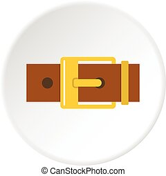 Belt with yellow square buckle icon circle