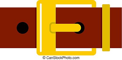 Belt with yellow square buckle icon isolated
