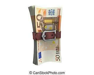 Belted stack of euro banknotes