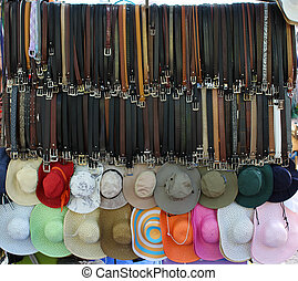 Belts and hats for sale