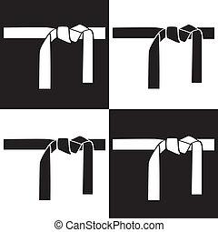 belts - black and white martial arts bels