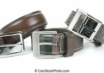 Belts - Brown belts isolated against a white background