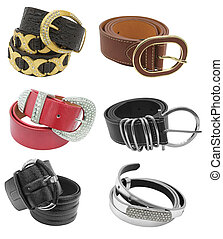 belts isolated - collection of belts - woman accessories...