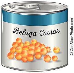 beluga, caviar, lata, aluminio