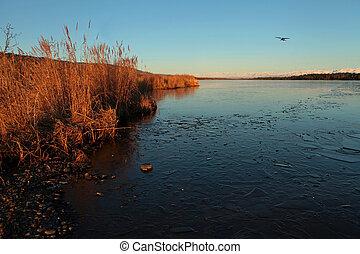 Beluga Lake in Fall with plane