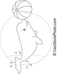 Black and white vector illustration of a beluga whale playing with a big ball