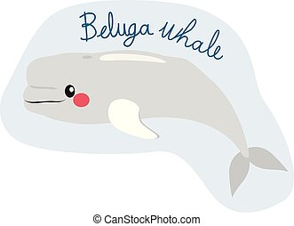 Cute beluga whale illustration swimming on water with text