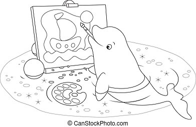 Black and white vector illustration of a white beluga drawing a picture with a brush and paints