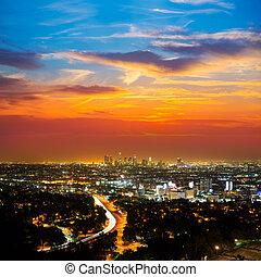 belvárosi, á-hang, éjszaka, los angeles, napnyugta, láthatár, kalifornia