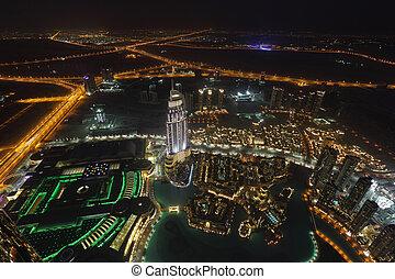 belvárosi, dubai, kilátás, antenna, éjszaka