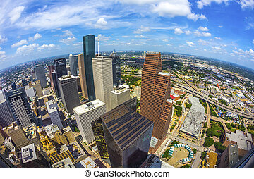 belvárosi houston, épületek, modern, antenna