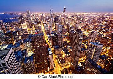 belvárosi, kilátás, antenna, chicago