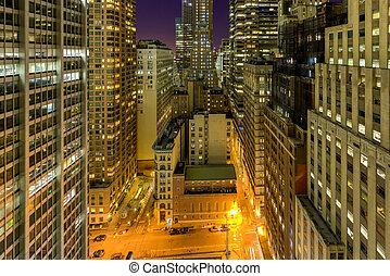 belvárosi, manhattan at éjszaka