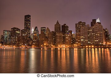 belvárosi, nyc, éjszaka, manhattan