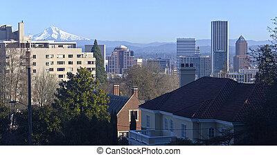 belvárosi, portland, panorama., láthatár, oregon