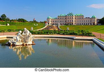 belvedere, österreich, -, palast, wien