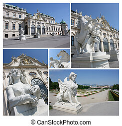 Collage of famous Belvedere castle in Vienna, Austria. Belvedere is large collection gallery of famous artists (Gustav Klimt for example)