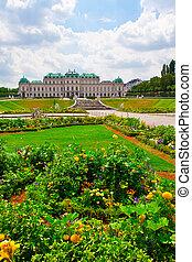 Belvedere Palace with flowers. Vienna.  Austria
