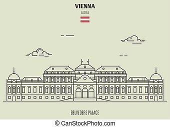 belvedere, palacel, en, viena, austria., señal, icono
