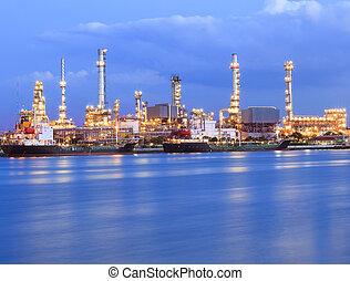 belysning, raffinaderi, vacker, olja