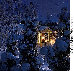belyst, hus, på, snedækkede, jul, aftenen