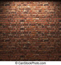 belyst, mursten mur