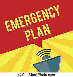 bemærk, større, nødsituation, firma, blive, fotografi, viser, skrift, nødsituationer, plan., showcasing, tillav, procedurer, besvarelse