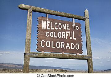 bem-vindo, à margem estrada, colorado, sinal