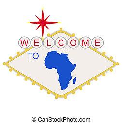 bem-vindo, áfrica, sinal