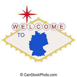 bem-vindo, alemanha, sinal