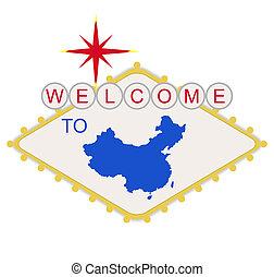 bem-vindo, china, sinal