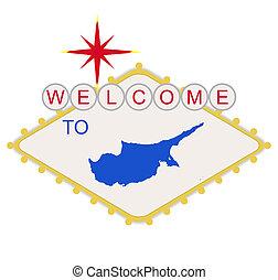 bem-vindo, chipre, sinal
