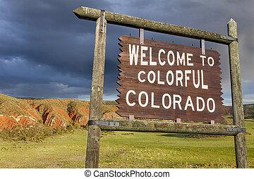 bem-vindo, colorado, sinal
