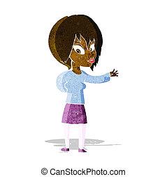 bem-vindo, fazer, mulher, caricatura, gesto