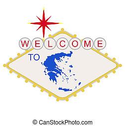bem-vindo, grécia, sinal