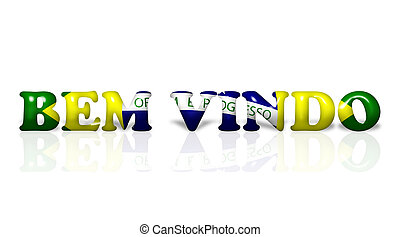 The words Bem Vindo in the Brazil flag colors isolated on white