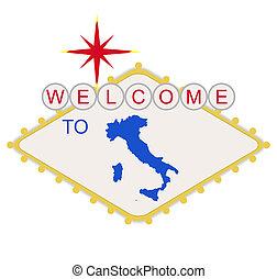 bem-vindo, itália, sinal